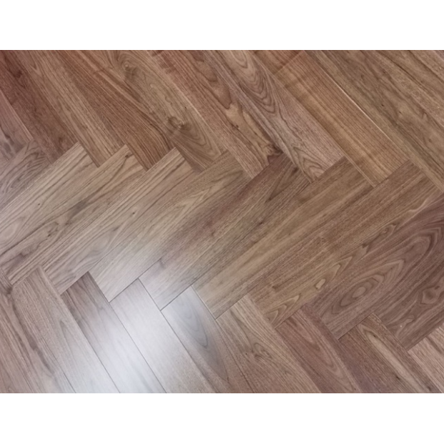 14  x 125 x 600mm | Engineered | Walnut | Herringbone | ABC Select Grade | UV Oiled class=